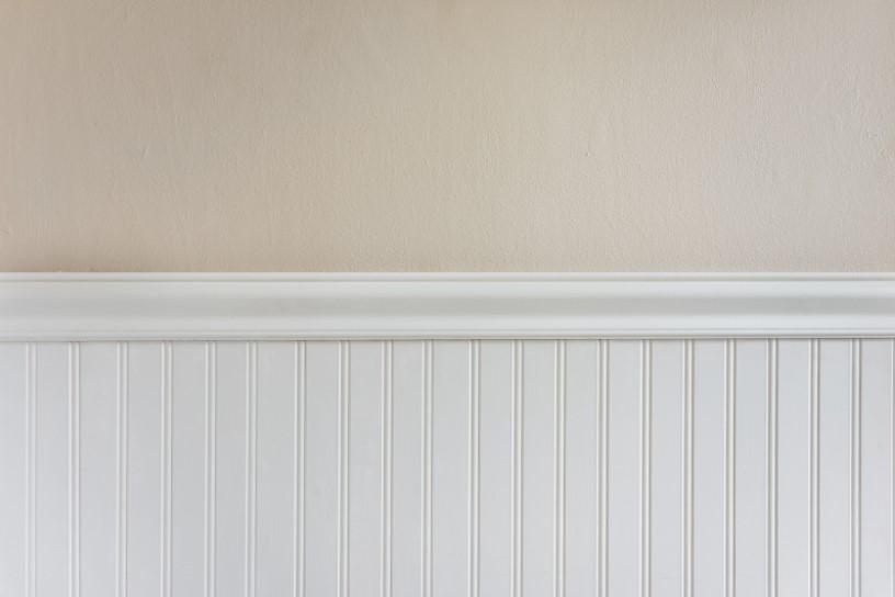 Wainscoting Panel in Hall with Light Brown Wall Paint