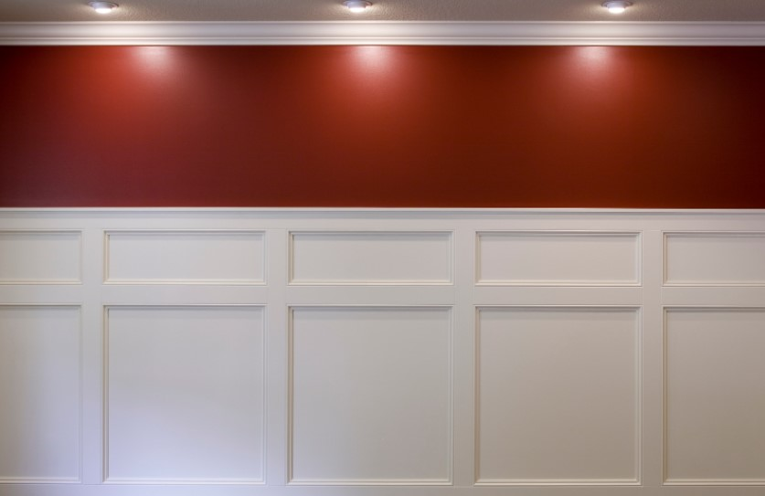 Wainscoting Panel in Hall with Red Wall Paint